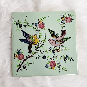 Vintage style hand painted bird spanish tile 6X6